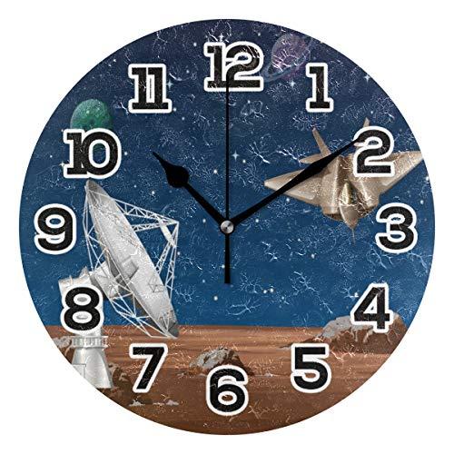 BONIPE Galaxy Planet Raumschiff mit Satellitenschüssel-Wanduhr, geräuschlos, Nicht tickend, Acryl, 23,9 cm, Dekoration, Büro, Schule, runde Uhr