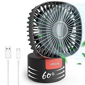 VPCOK Mini Ventilador USB Silencioso 2 en 1 Ventiladores de Sobremesa Ventilador Portátil con 3 Velocidades de Viento Potentes, Plegable 180° y Rotación de 60°, para Escritorio, Oficina, Viaje
