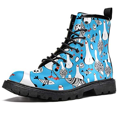 Botas de invierno con estampado de peces de gaviotas SND para mujeres y niñas, botas de nieve cálidas con parte superior alta de tobillo con cordones para la escuela, color Multicolor, talla 37 EU