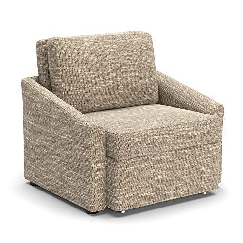 DOMO Collection Relax Dauerschläfer Boxspring Sofa mit Schlaffunktion, Schlafsessel Gästebett Schlafsofa, beige-braun, Sessel