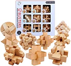 FenglinTech Brain Teasers, 9PCS IQ Wooden Puzzle Set, Assembly Disentanglement Puzzles for Adult