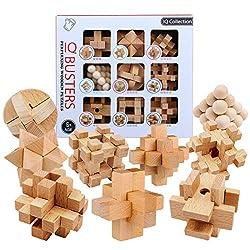 iVansa 9er Set Knobelspiele für Erwachsene, Geduldsspiele aus Holz IQ Test 3D Holzpuzzle Knobel Würfel Logikspiele Reisespiele Geschenk für Kinder