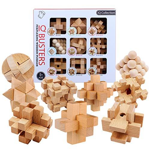 ALLESOK 9St. Knobelspiele aus Holz Puzzle Set Geschicklichkeitsspiele für Erwachsene und Kinder