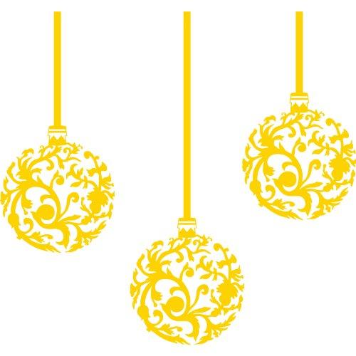 Set Di 3 Palle Di Natale (20 Cm) Colore Giallo Decorazioni Di Natale, Palline Di Natale Di Windows E Adesivo Da Parete, Wall Art, Xmas, Decalcomanie, Ornamento Vinile Thatvinylplace