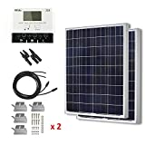 HQST 200 Watt 12 Volt Polycrystalline Solar Panel Kit with 30A Negative-Ground PWM LCD Display Charge Controller, 20ft 12AWG Adaptor Cable, Z Bracket, Y Branch Connector