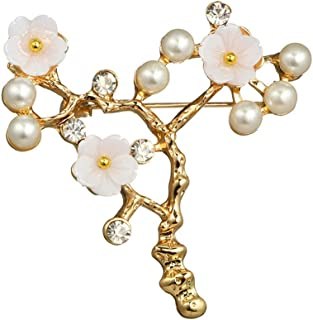 MINGHUA Brooch for Wedding Prom Simulated Pearl Shell Beaded Plum Blossom Branch Golden Brooch pin Ladies Clothing Accessories