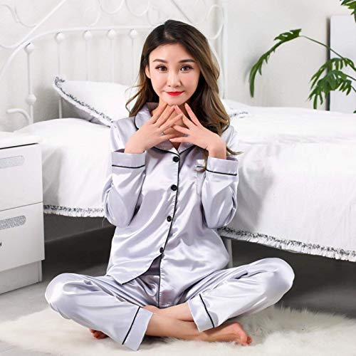 ZWWZ Mujeres cómodas Pijamas más tamaño Manga Larga Casual Homewear Spring Pijama Suelte Seda Satin Sleepwear Set MISU (Color : 8041 Hui, Size : Xxlarge)