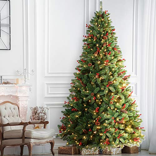 AMERZEST 6.5ft Pre-lit Christmas Tree with 450 Warm White Lights,Artificial Spruce Trees with 63 Berries,63 Pinecone