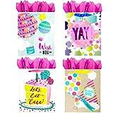 Blue House Group Premium Birthday Gift Bags + Tissue Paper (4 Large Bags + Tissue, Birthday Girl)