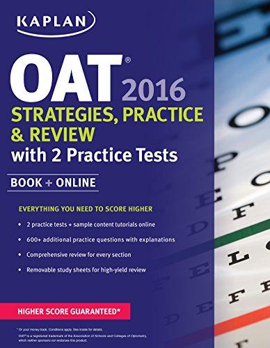 Kaplan Oat 2016 Strategies Practice And Review With 2 Practice Tests Book Online Kaplan Test Prep