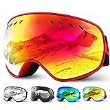 Glymnis Skibrille Snowboard Brille Schneebrille Doppel-Objektiv Schutzbrillen UV-Schutz Anti-Nebel Winddicht