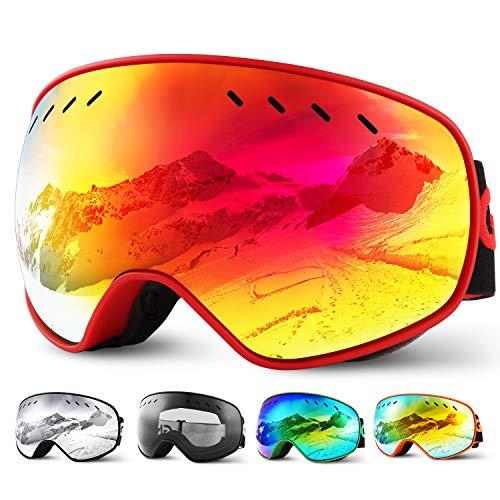 Glymnis Skibrille Snowboard Brille Schneebrille Doppel-Objektiv Schutzbrillen UV-Schutz Anti-Nebel Winddicht für Skifahren Skaten Damen und Herren Jungen und Mädchen mit Reißverschlussbox Rot01