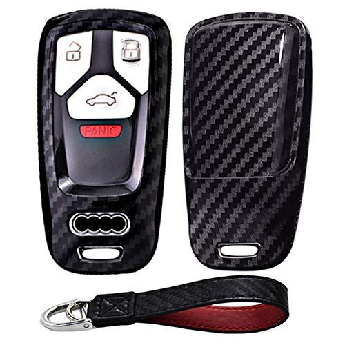 Kwak's Funda protectora para llave de coche, diseño de fibra de carbono, compatible con Audi 18, A4