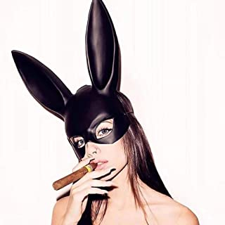 Halloween Mask 2 Pieces Bunny Mask,Black Masquerade Mask Rabbit Eyemask With Ears Bunny Mask For Halloween Party Costume C...
