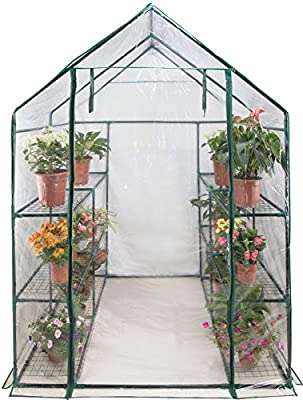 Rocky Mountain Goods Large Greenhouse Kit for Outdoors - Large Walk in Greenhouse with Shelving - No Tools Required Easy Set up - Zippered Access Door - Durable Frame and Shelves