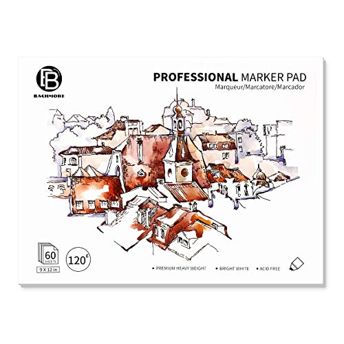 """Bachmore Bleedproof Marker Paper Pad - 9""""X12""""- Premium White 80lb/120g, 60 Sheets Semi Translucent for Pen, Pencil or Marker, Fold Over,Copic Paper"""