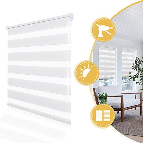 Doppelrollo klemmfix ohne Bohren Duo Rollo für Fenster ohne Bohren,lichtdurchlässig und verdunkelnd Wandmontage Sichtschutz, Rollo für Fenster und Tür 100 x 120 cm(BxH) Weiß