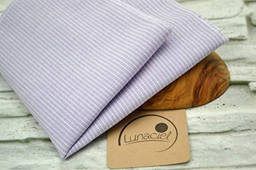 Taschentuch aus Bio-Baumwolle, 3 Stück, Stofftaschentuch, wiederverwendbares Tuch, Mehrweg, waschbar, Damen, Ersatz Papiertücher, lila flieder Streifen, Leinenoptik