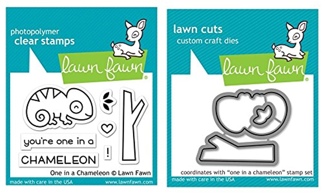Lawn Fawn Clear Stamp & Die Set - One In A Chameleon kpbazwnvmx