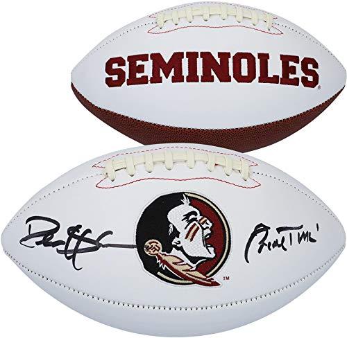 Deion Sanders Florida State Seminole Autographed White Panel Football with
