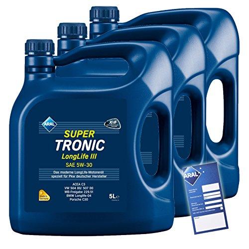 3x 5 L = 15 Liter ARAL SuperTronic Longlife III 3 5W-30 Motoröl inkl. Ölwechselanhänger