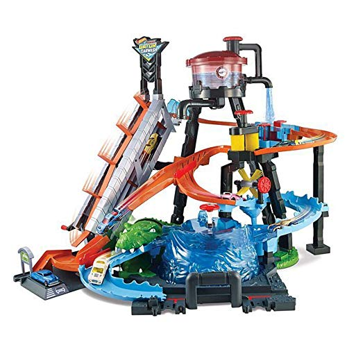 Hot Wheels FTB67 - City Ultimative Autowaschanlage mit Krokodil, Waschstation Spielset mit...