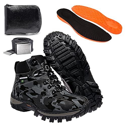 Kit Bota Coturno Adventure Masculino Camuflado em Couro Legítimo Solado Costurado (38)