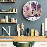 Reloj de pared moderno redondo de madera, reloj silencioso sin cosquillas, libro de corazón para el día de San Valentín, rosa rosa de 30,48 cm, funciona con pilas, reloj fácil de leer para el hogar