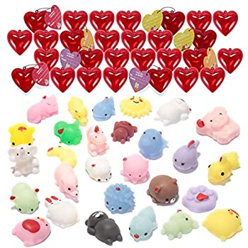 28 Packs Kids Valentine Party Favors Set with 28 Mochi Squishies Filled Hearts and Valentine Cards for Kids Valentine Classroom Exchange Kawaii Stress Relief Toys for Valentine Cards Exchange