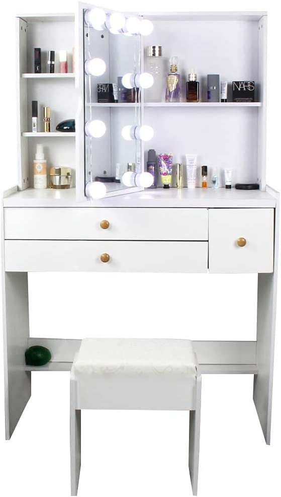 Meilinli White Makeup Dressing Table 70%OFFアウトレット with 専門店 Desk Set Mirror Vanity