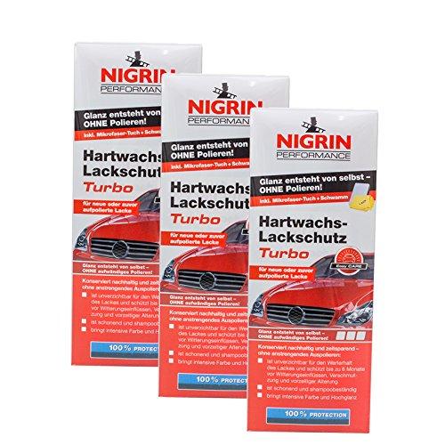 Nigrin 3X 72962 Performance Hartwachs-Lackschutz Turbo 500 ml