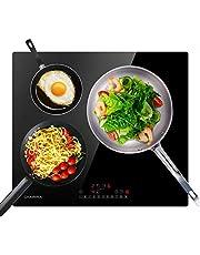 CIARRA CBBIH3B 3 kookzones inductiekookplaat, 59cm ingebouwde kookplaat 6200W, 9 vermogensniveaus kookplaten, powerbooster / timer en kinderslot / touch control / led display / zwart kristalglas oppervlak