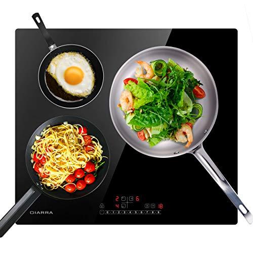 CIARRA CBBIH3B Plaque à Induction - 3 Foyers - 6200 W Réchaud Encastrable - Fonction Booster - Contrôle Tactile - Sécurité Enfants
