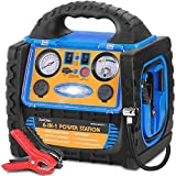 ZunDian Portable Power Station 1400Amp Jump Starter with 260 PSI Air Compressor Tire Inflator, 20000aMh 12V Backup Battery Booster Dual AC/DC Ports 400W Inverter, 2.1A USB Port, Battery Clamps