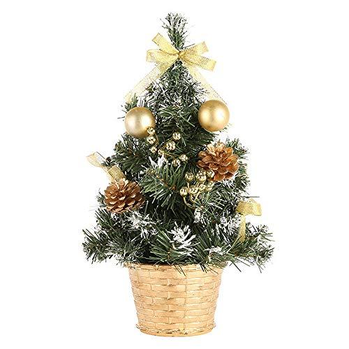 Künstlicher Klein Weihnachtsbaum Mini Tischdeko Weihnachtsdeko Funkelnde Anhänger Festliche für Büros Klassenzimmer Zuhause Tannenbaum Weihnachten Deko Weihnachtsschmuck Gold Rot Silber (Gold, 20CM)