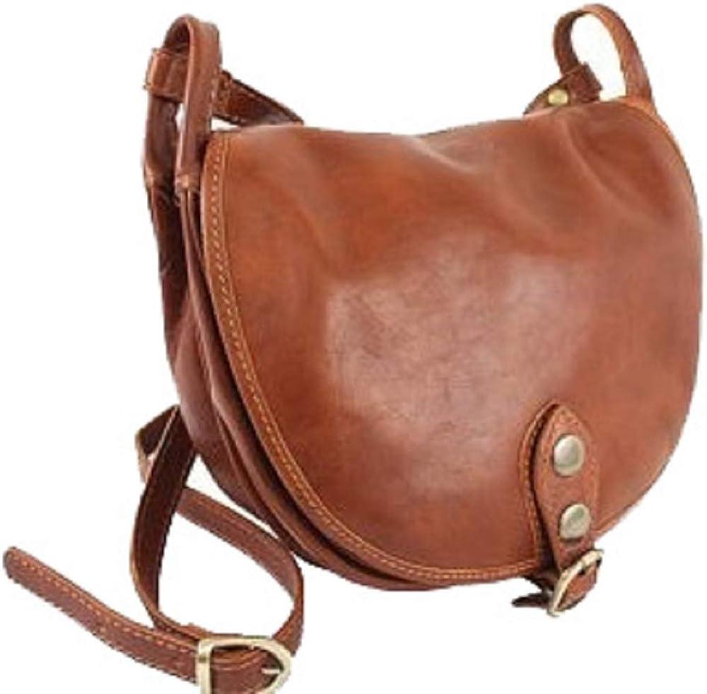Bottega carele, borsa da donna a tracolla, in vera pelle, made in italy, marrone chiaro BC905