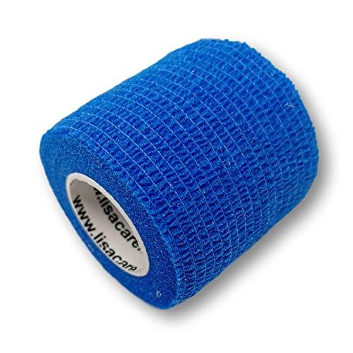 LisaCare Kohäsive Bandage 4er-Set - selbsthaftend, elastisch, 5cm breit für Mensch & Tier - Fixierbinde für Sport Arbeit Reiten - Blau