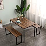 SogesHome Dining Table and Chairs Dining Table Set with Benches Bar Set for 4 Dinning Set for Dining Room Bistro Set, Brown, NSDUS-CZJYB-yzld01