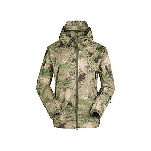 Webetop Giacche Uomo Softshell Cappuccio Tattico Giacca Impermeabile per Sport Esterno, Verde Camouflage M Taglia