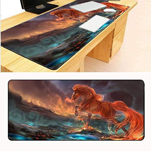 HonGHUAHUI Red Horse Lock Edge muismat spel computer toetsenbord speler muismat 400x900X2MM A06