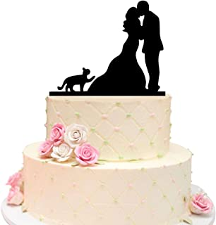 Acrylic Black Wedding Cake Topper, Bride and Groom with Lovely Pet Cat Wedding Decoration Cake Topper