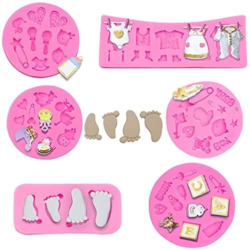Stampi di Baby Shower DIY 6 Pezzi Stampi in Silicone per Uso Alimentare di Baby Set di Stampi In Silicone per Bambini 3D Stampo in Silicone fai da te per Neonati per la Decorazione di Torte