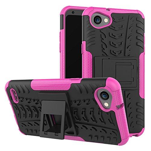 TiHen Funda LG Stylus Q6/Q6a/G6 Mini 360 Grados Protective con Pantalla de Vidrio Templado. Caso Carcasa Case Cover Skin móviles telefonía Carcasas Fundas para LG Stylus Q6/Q6a/G6 Mini - Rosa