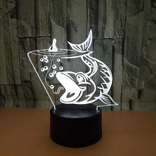 Pesca Carpa 3D Luz Táctil Led Estéreo Lámpara De Visión Luminaria De Mesa Led Luz De Noche Usb Led 3D Luminarias