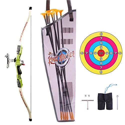 Amitas Kinder Pfeil und Bogen Set - Kinder Bogen, Köcher, Zielscheibe und 6 Pfeil mit Saugnäpfen Bogenschießen für Kinder ab 6 Jahren