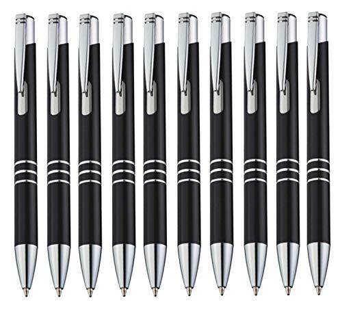StillRich Industries Metall Kugelschreiber 10 Stück | hochwertiger Kulli | blauschreibende Premium Kugelschreiberminen für weiches schreiben (10, Schwarz)