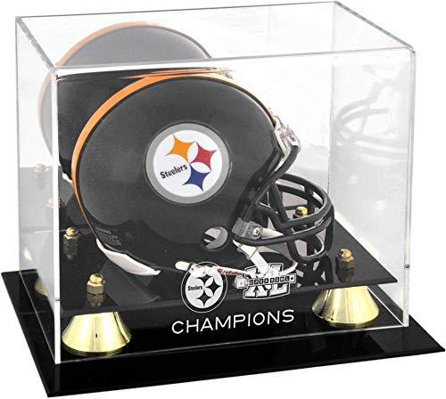 Pittsburgh Steelers Super Bowl XL Champions Golden Classic Mini Helmet Logo Display Case - NFL Mini Helmets