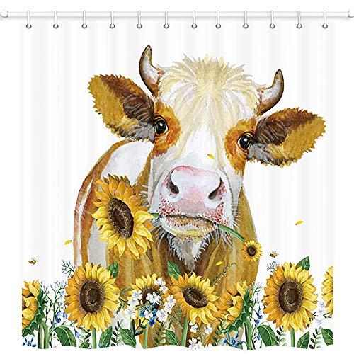JAWO Duschvorhang mit Bauernhoftier-Motiv, Kuh mit Sonnenblume, Polyestergewebe, wasserdicht, 12 Haken, 119,4 x 162,6 cm