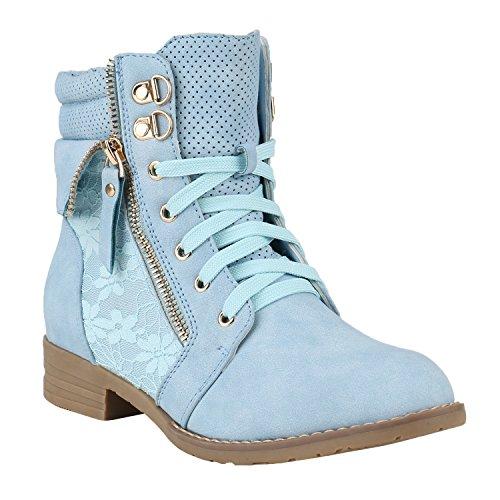 stiefelparadies Damen Stiefeletten Schnürstiefeletten Worker Boots Zipper Schuhe 144300 Hellblau Autol 35 Flandell