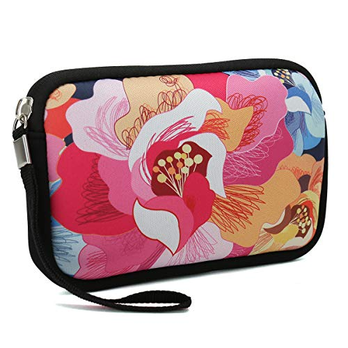 Unisex Portable Neoprene All Smartphone Wristlet Wallet Clutch Purse, Coin Pouch, Pencil Bag, Cosmetic Bag (Colorful Flower)